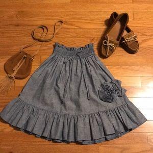 Dresses & Skirts - Blue Cotton Ruffle Skirt